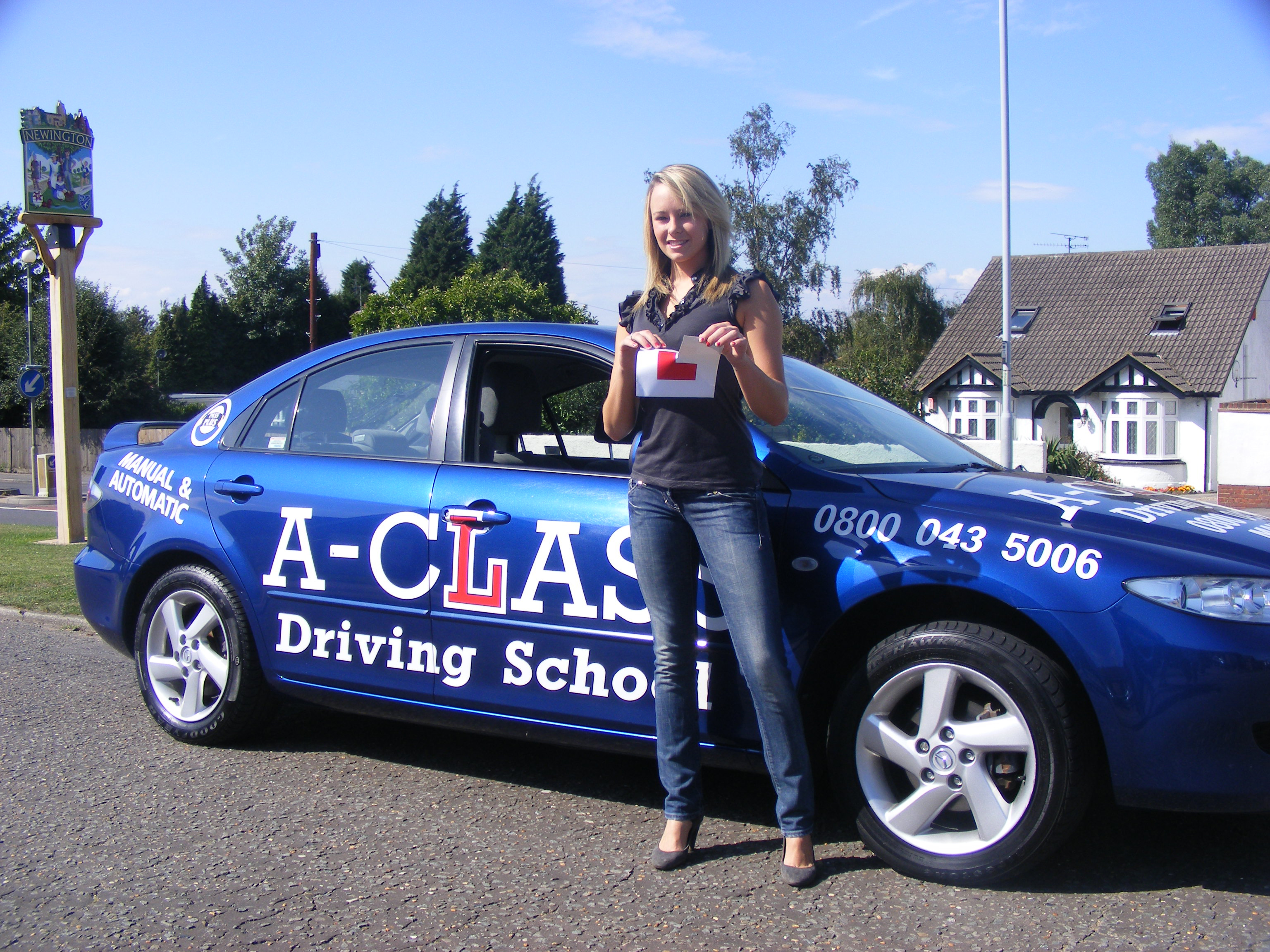 Girl passing her test with A-Class Driving School